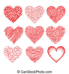 hearts sketch - Vector collection of red hand-drawn hearts...