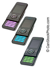 Cell phones - Three different color cell phones on white...