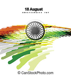 15th of August indian flag texture wave design with colorful vec
