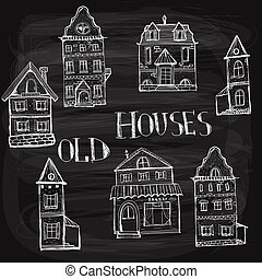 7 old styled houses drawn with white chalk on blackboard,...