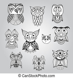 Vector Set of 10 Doodle Owls, fully editable eps 10 file
