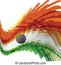 India flag with stylish texture wave vector illustration
