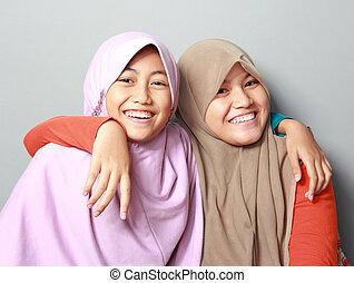 deux, jeune, musulman, girl, mieux, ami