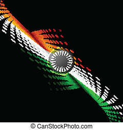 15th of August  Indian Independence Day halftone colorful flag w
