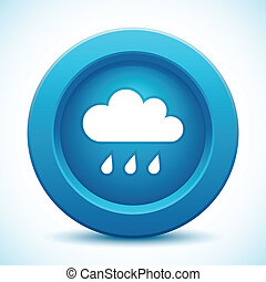 Cloud blue button, vector illustration