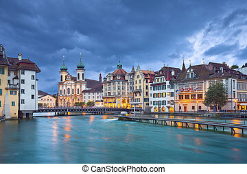 Lucerne - Image of Lucerne, Switzerland during stormy...