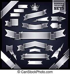 Silver Ribbons Banners Collection Set5