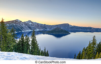Sunset over Crater Lake - Crater Lake at sunset It is a...