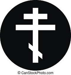 Religious orthodox cross button on white background. Vector...