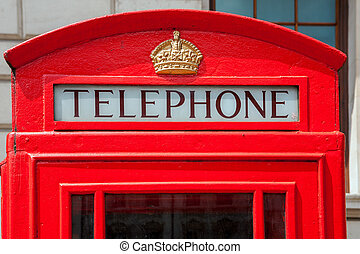 Telephone booth London, England - Red telephone box in...