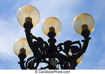 Street lights detail on summer sunny day