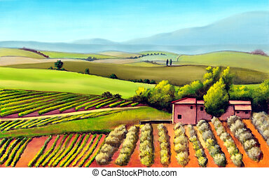 Tuscany landscape - Farmland in Tuscany, Italy. Original...