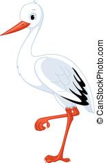 Stork standing on one leg