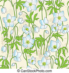 Seamless background with anemones - Seamless hand-drawn...