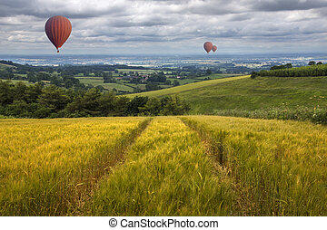 Hot Air Balloons over the East Yorkshire Wolds - Hot air...