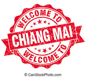 welcome to Chiang Mai red vintage isolated seal