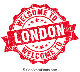 welcome to London red vintage isolated seal