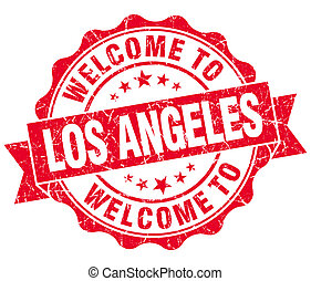 welcome to Los Angeles red vintage isolated seal