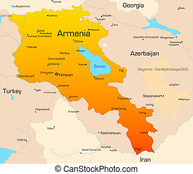 Armenia - Abstract vector color map of Armenia country
