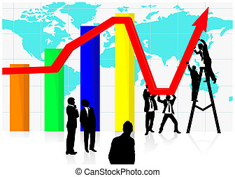 Jointly working on economic recovery - Young business people...