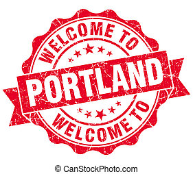 welcome to Portland red vintage isolated seal
