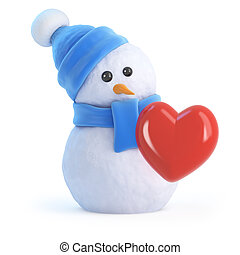 3d Snowman is in love - 3d render of a snowman with a red...