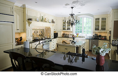 eat in kitchen with island wine and baguettes - luxury home...