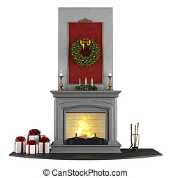 Christmas Fireplace - Traditional fireplace with Christmas...