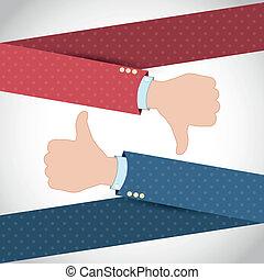 Like Dislike Hand Banner Vector