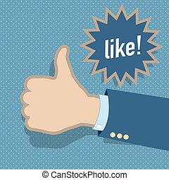 Social media like hand vector