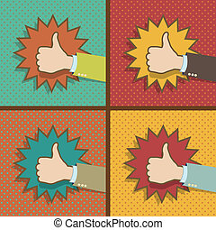 Vintage Thumb Up Like Hands Vector