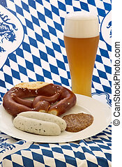 Oktoberfest meal - Typical Oktoberfest meal with Wheat beer,...