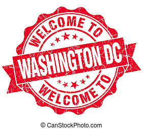 welcome to Washington DC red vintage isolated seal