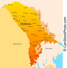 Moldova - color map of Moldova country