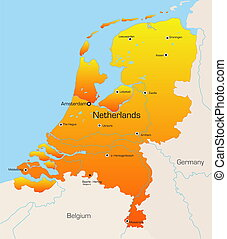 Netherlands  - color map of Netherlands country