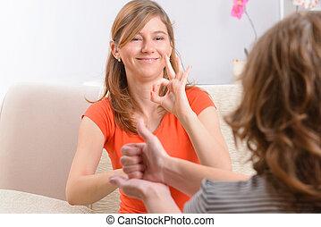 sordo, mujer, aprendizaje, señal, idioma