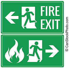 Emergency fire exit door signs