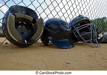 Batting Helmets - A row of batting helmets in a little...