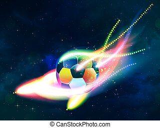Flying Soccer Ball - Soccer ball with colorful flame flying...