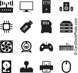 Computer hardware icon set for your design