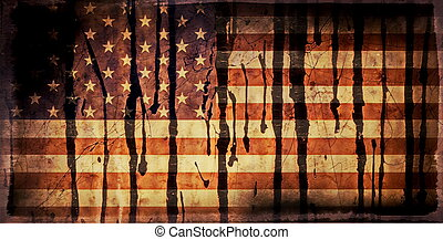 Old Grunge USA Flag stained with oil