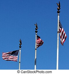 Washington Union Station flags 2013 - Three flags of the...