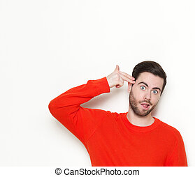 Man pointing finger gun gesture to head - Portrait of a...
