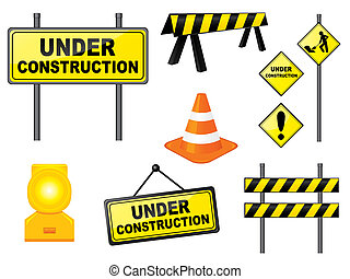 Construction signs - Set of construction signs and elements....