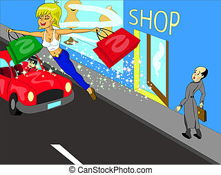 happy shopping - vector - beautiful girl flies away from...