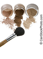 Cosmetics and brushes for a make-up on a light background -...