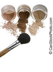 cosméticos, escovas, maquiagem, luz, fundo