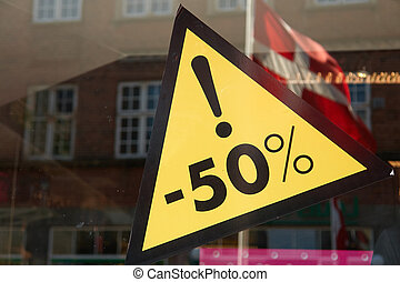 Sale sign 50 percent off the price - Sale special offer...