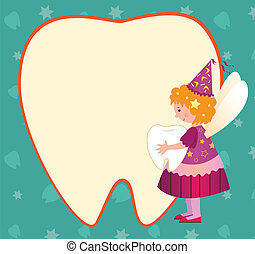 Tooth Fairy - A cute tooth fairy is holding a tooth and...