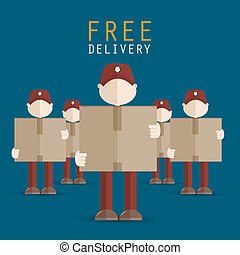 Delivery men carrying boxes vector